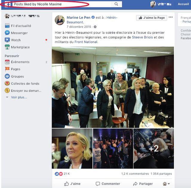 """En décembre 2015, il """"like"""" le post de Marine Le Pen consacré à la soirée électorale qu'elle a passé à Hénin-Beaumont à l'issue du premier tour des régionales."""