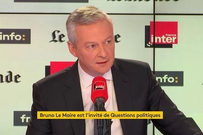 Le ministre de l'Économie et des Finances Bruno Le Maire invité de Questions politiques