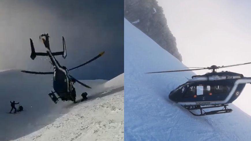 El helicóptero del PGHM Chamonix en intervención peligrosa el 2 de enero de 2019