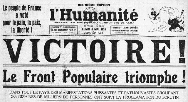 La Une de l'Humanité du 4 mai 1936.