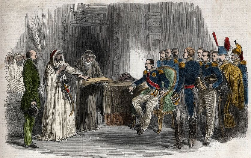Gravure de 1852 représentant la libération d'Abd-el-Kader par Napoléon III la même année