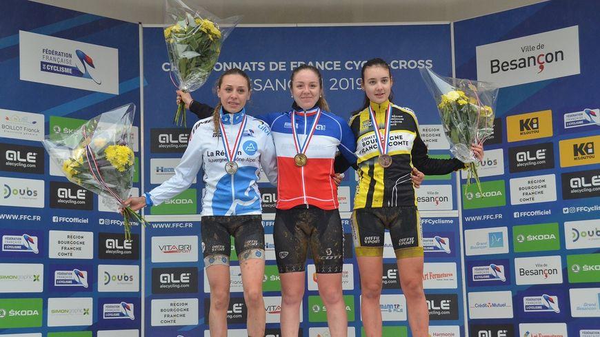 Amandine Fouquenet de l'US Vern Championne de France Juniors en Cyclo-Cross à Besançon.