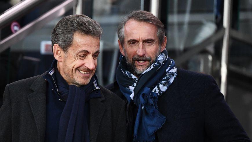 Nicolas Sarkozy et Jean-Claude Blanc le directeur général du PSG à l'occasion du match PSG - Rennes (4-1)