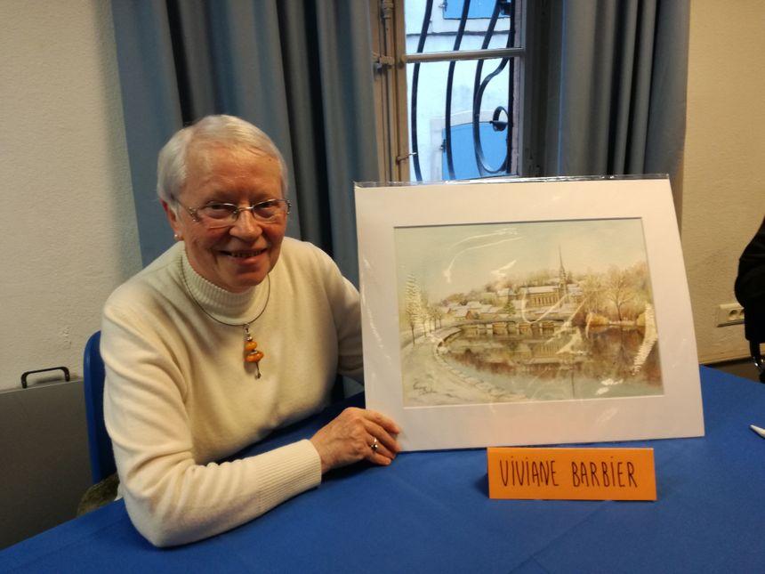 Viviane Barbier, qui a dessiné le pont Bermont enneigé cette année sur la carte de vœux 2019.