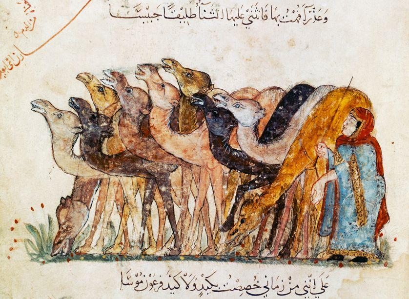 Cette peinture provient d'un manuscrit des Maqâmât (Séances) de al-Harîrî. Bibliothèque Nationale de France
