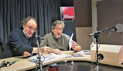 France Musique, studio 131... Le compositeur José Manuel López López & Arnaud Merlin, producteur de l'émission (g. à d.)