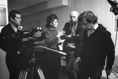 Eric Rohmer, Pascale Ogier et Tcheky Karyo, sur le tournage Les nuits de la pleine lune