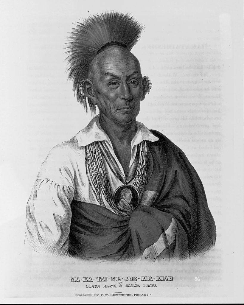 """Lithographie publiée en 1837 dans """"History of the Indian Tribes of North America"""" de Thomas Loraine McKenney and James Hall d'après un portrait sur toile de Charles Bird King"""