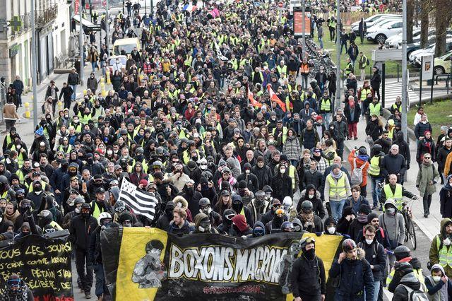 """Manifestation des """"gilets jaunes"""" à Nantes le 26 janvier 2018"""