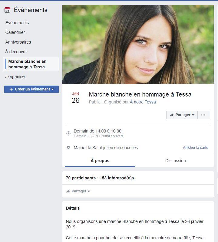 La page Facebook créée à la mémoire de Tessa (capture d'écran).