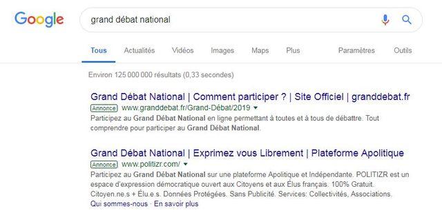 """Lorsqu'on recherche """"grand débat national"""" on ne trouve pas que le site officiel"""