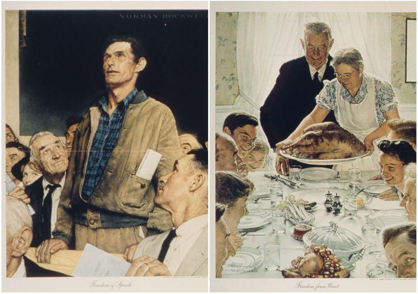 """La Liberté de parole (Freedom of Speech) peint par N. Rockwell en 1942, est le 1er d'une série de quatre tableaux (dont  À l'Abri du besoin -""""Freedom from Want""""), inspirés du discours sur l'état de l'Union de 1941 du Président Roosevelt."""