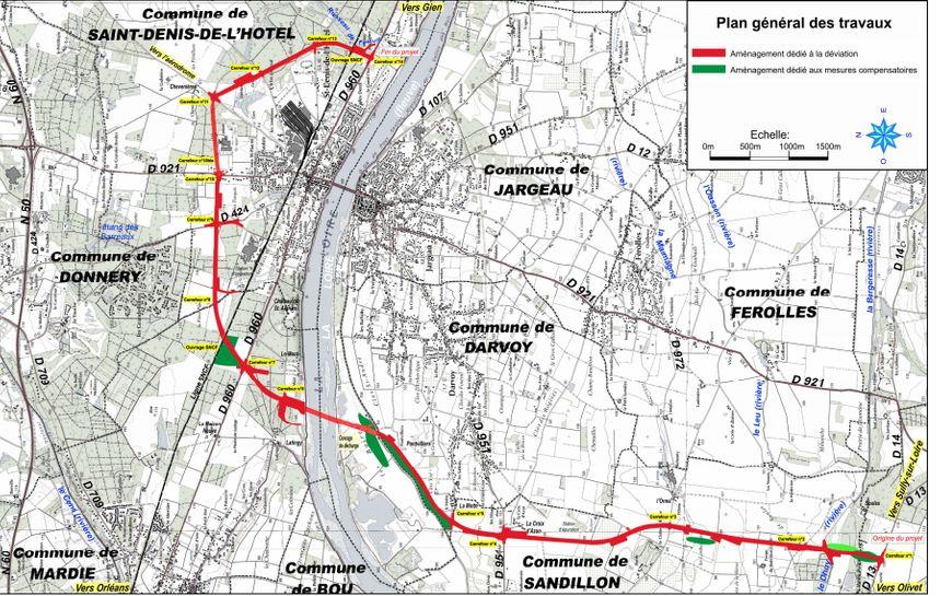 Tracé de la nouvelle déviation de Jargeau et emplacement du nouveau pont sur la Loire