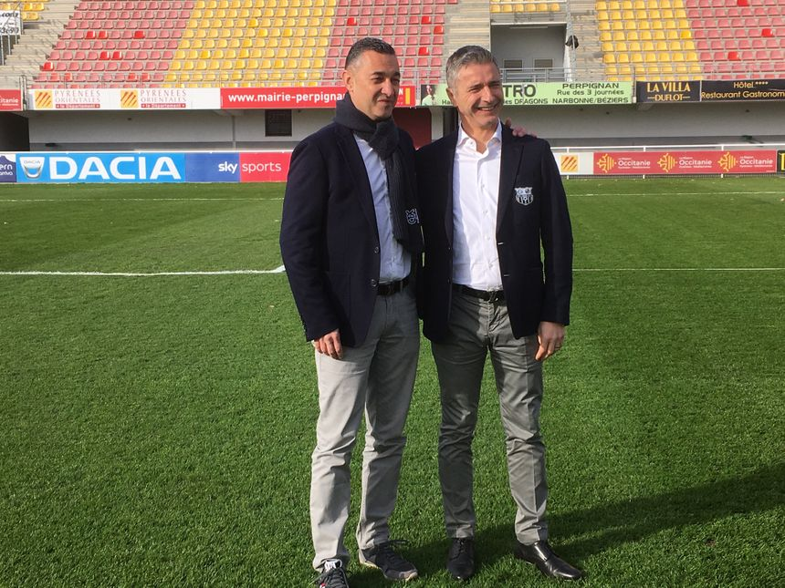 Les 2 présidents de Canet-Roussillon FC sur la pelouse du stade Brutus