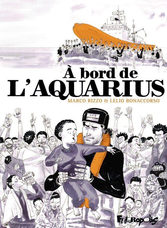 """La couverture du livre """"A bord de l'Aquarius"""", histoire narrée par """"Papa panda"""""""