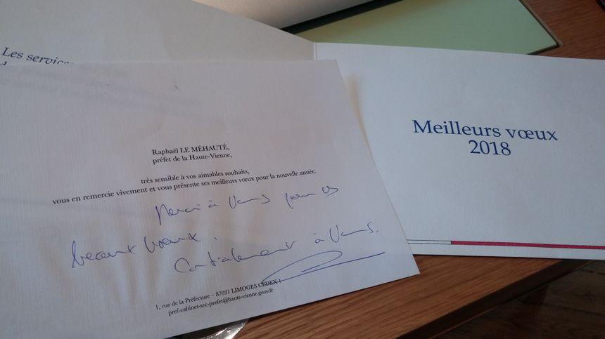 Il y a un an, René Bokoul recevait des vœux manuscrits du préfet de Haute-Vienne.