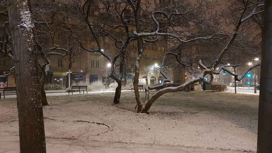 Le square Mangin à Metz sous la neige