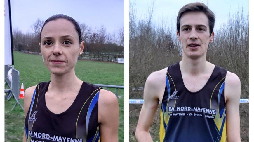 Mélissa Larrere et Simon Cartier, de l'Entente athlétique Nord-Mayenne.