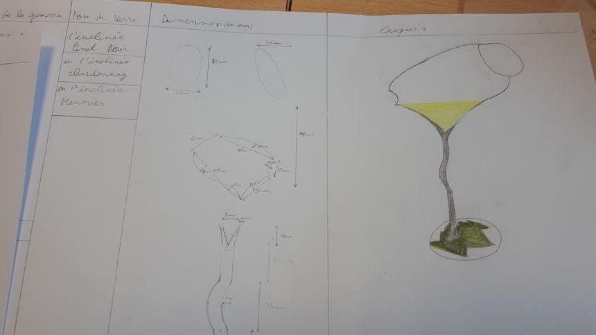 Le plan d'une flûte inclinée avec son pied présentant la feuille du cépage dégusté.