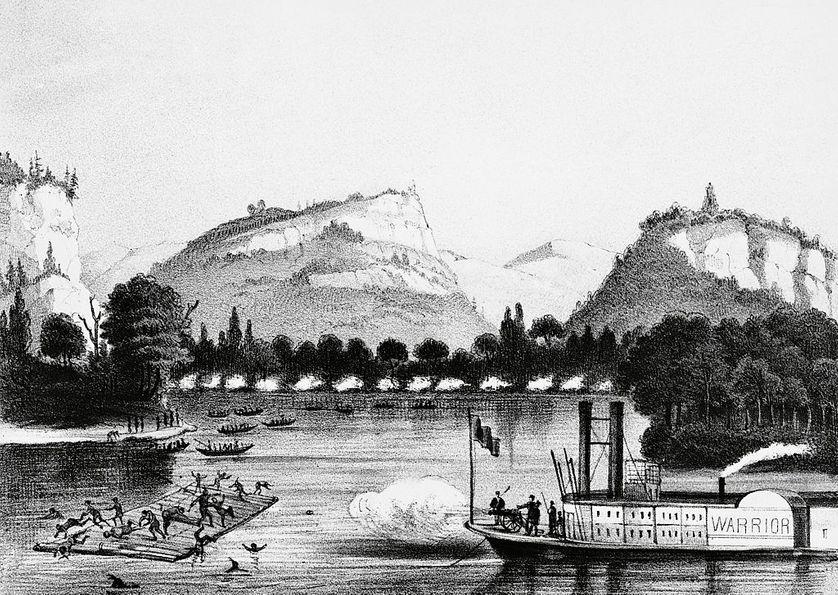 Lithographie de 1832 représentant l'ultime bataille de Bad Axe menée par Black Hawk face à l'armée fédérale, les 1er et 2 août 1832