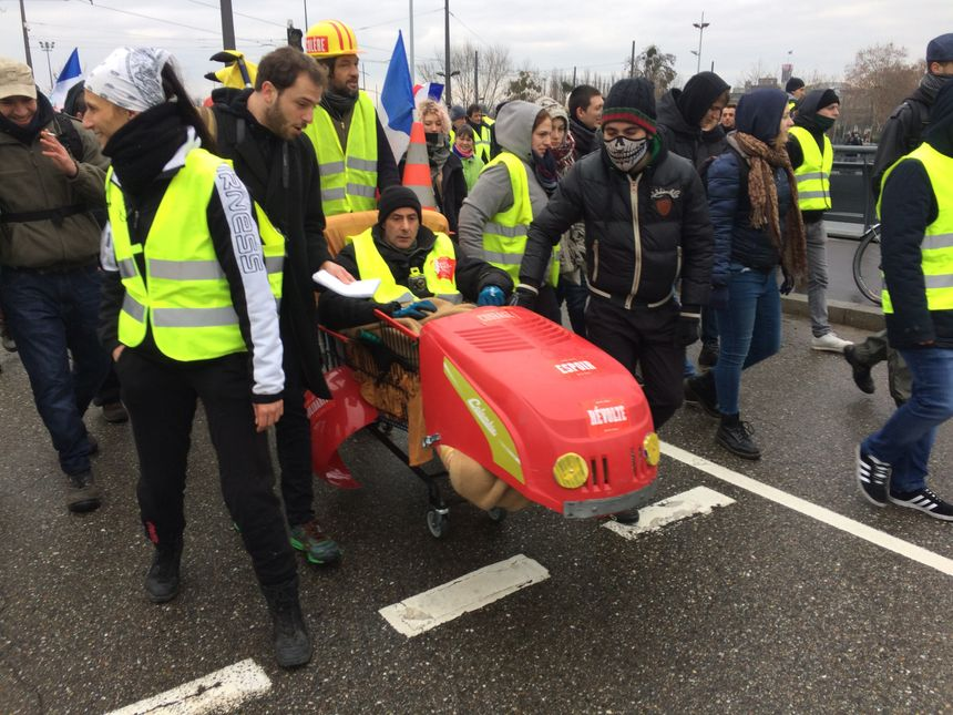 Manifestation de gilets jaunes à Strasbourg, le 12 janvier 2019