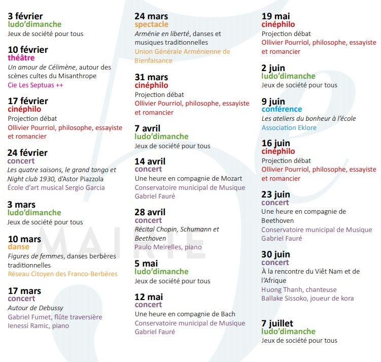 Le programme des Culture Dimanche de la mairie du 5e arrondissement