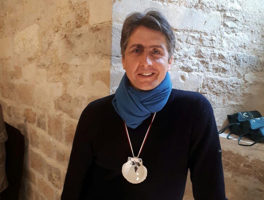 Matthieu Woillez, président du comité d'organisation de la Saint-Vincent tournante 2019 et tout juste intronisé par la confrérie des quatre coteaux du Vézelien.