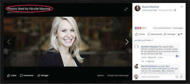 """Sur Facebook, Maxime Nicolle """"aime"""" aussi une photo de Marion Maréchal"""