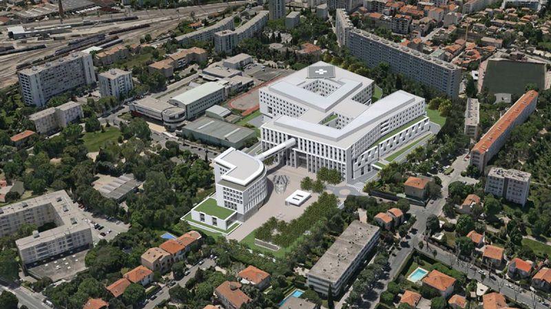 le projet de l''Hôpital privé de St Barnabé (12e) prévoit plus de 600 lits sur 68 000m2 (maquette)