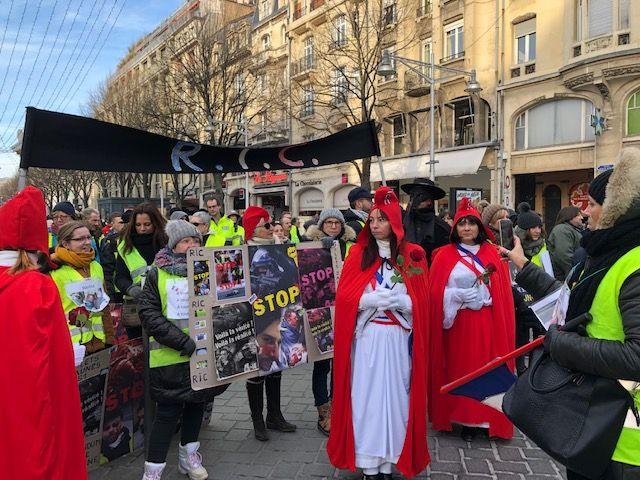 Le défilé des Gilets Jaunes à Reims.