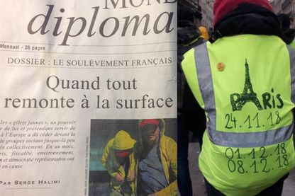 Une du Monde Diplomatique (Janvier 2019) et manifestation des gilets jaunes.