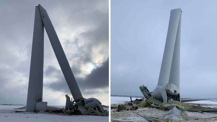 Le mât de l'éolienne s'est plié
