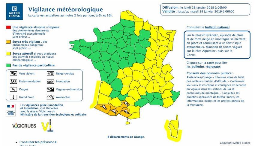 La carte diffusée par Météo France ce lundi matin à 6h.