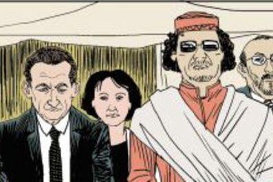 """Vignette extraite de la Bande Dessinée : """"Sarkozy et Kadhafi : des billets et des bombes"""""""