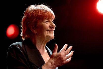 La chanteuse, auteure-compositrice-interprète, Anne Sylvestre le 15 Avril 2018, sur la scène du Cabaret Botanique dans le cadre du festival Mythos à Rennes