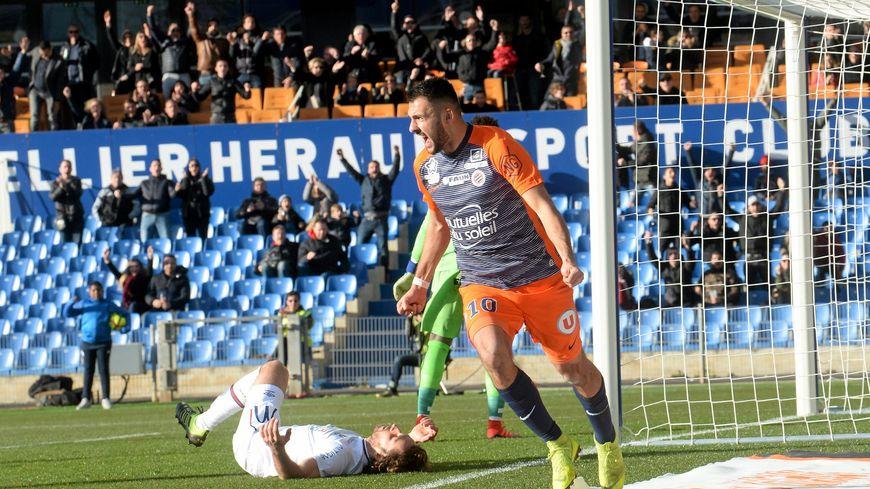 Le joie de Gaëtan Laborde après son but contre Caen au stade de la Mosson