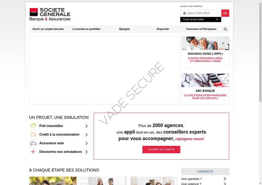 Un exemple de fausse page générée par des pirates informatiques : ici, il s'agit d'une copie du site d'une banque, la Société Générale.