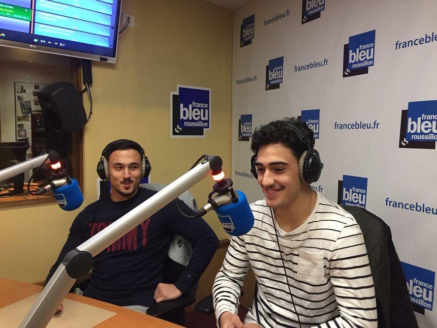 Jordan Flovie et Romain Franco dans le studio France Bleu Roussillon