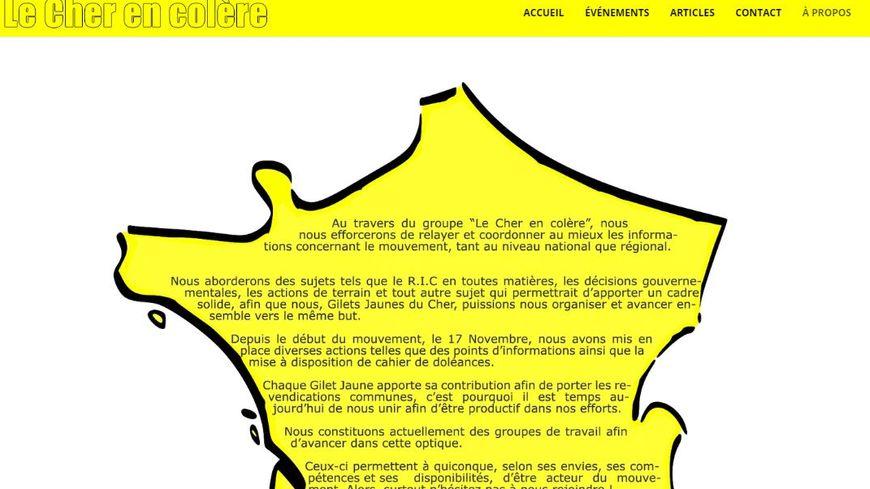 La page d'accueil du site Le Cher en colère