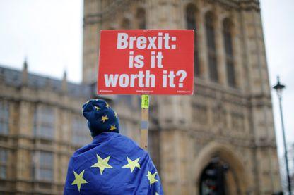 « Brexit : est-ce que ça vaut vraiment le coup ? », proclame ce manifestant anti-Brexit devant le Parlement britannique, lundi 14 janvier à Londres.