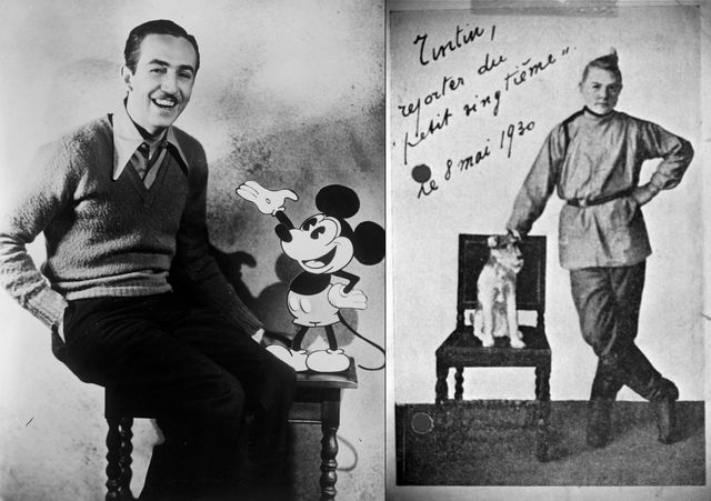Walt Disney avecA gauche, Walt Disney avec Mickey Mouse (1935). A droite, un garçon habillé en Tintin (reproduction d'une photo trouvée dans le Studio Hergé (datant des années 30)
