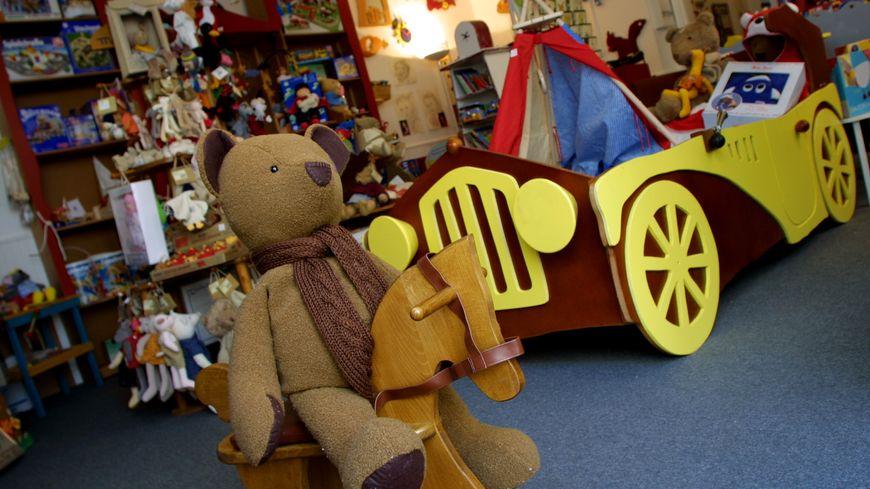 Illustration d'une boutique de jouets.