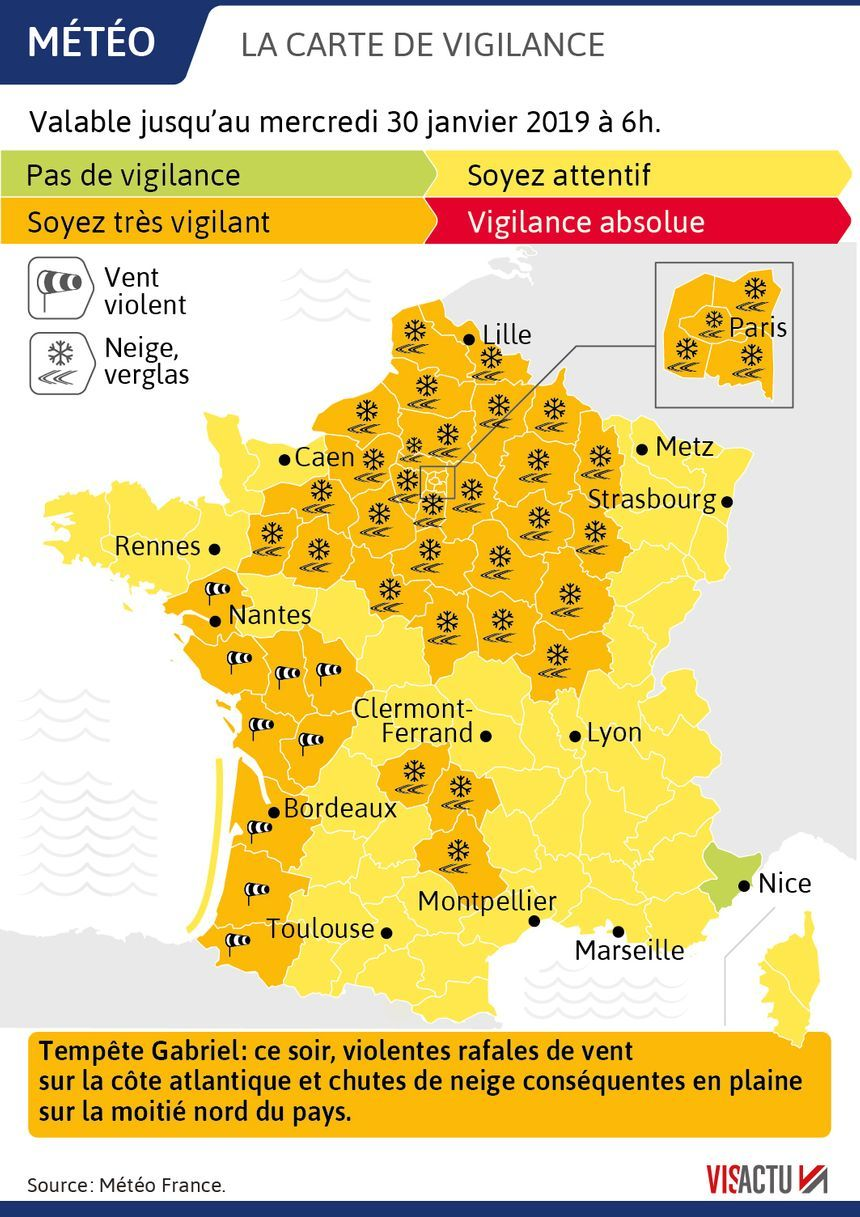 43 départements sont désormais en vigilance orange jusqu'à mercredi neige-verglas, vent violent ou avalanches