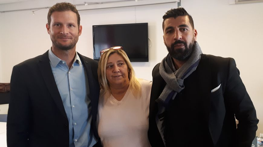 De gauche à droite : Me Poilpré, Patricia Bessière et Mourad Deddouche