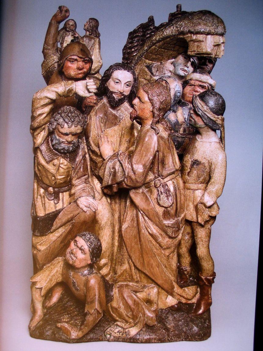 Le baiser de Judas. Judas a souvent été représenté avec des cheveux roux .Photo d'illustration