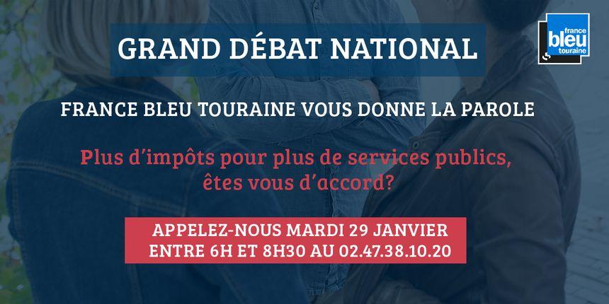 """""""Plus d'impôts pour plus de services publics, êtes-vous d'accord ?"""", réagissez ce mardi 29 janvier sur l'antenne de France Bleu Touraine"""