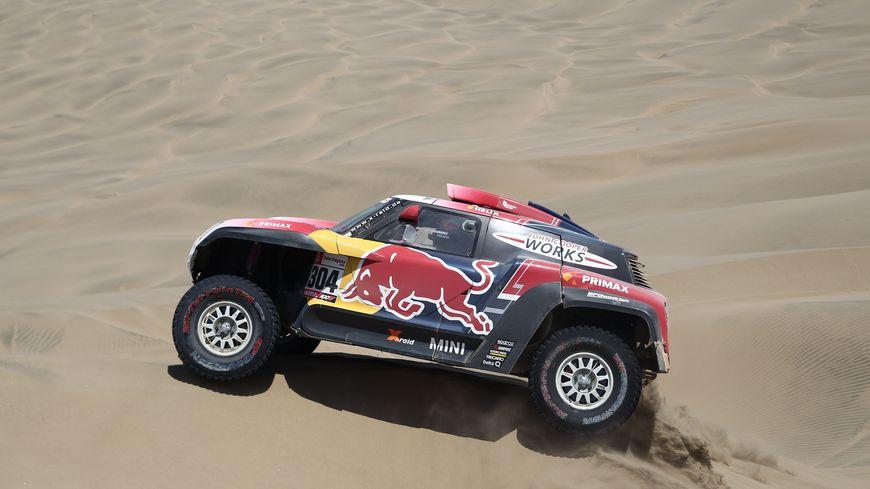 La voiture de Stéphane Peterhansel (Mini) sur le Dakar 2019.