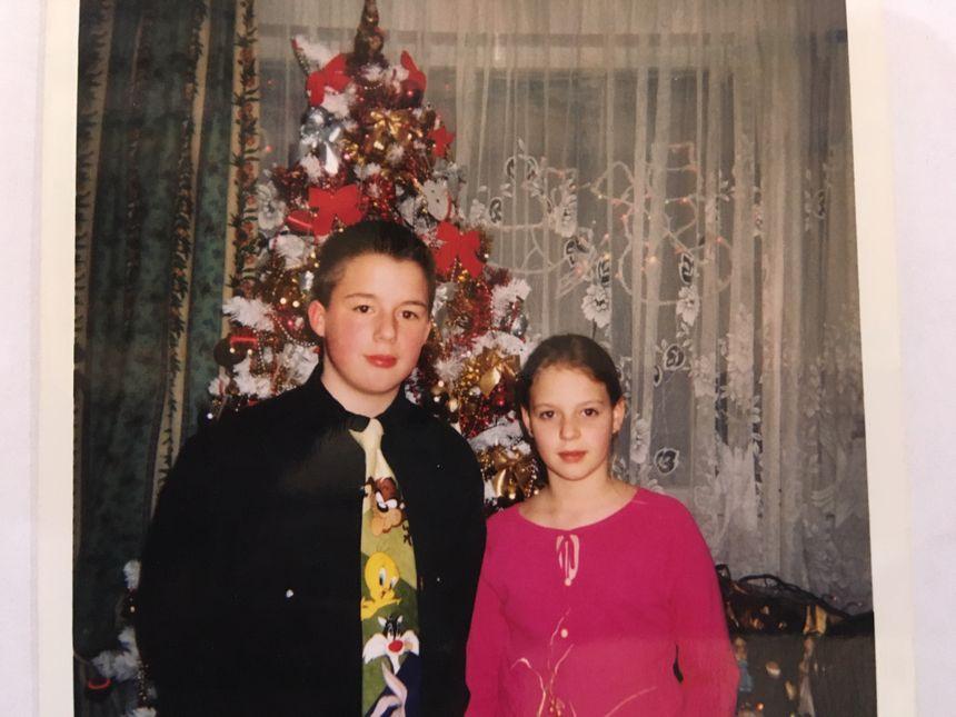 Anthony et Céline enfants à Noël