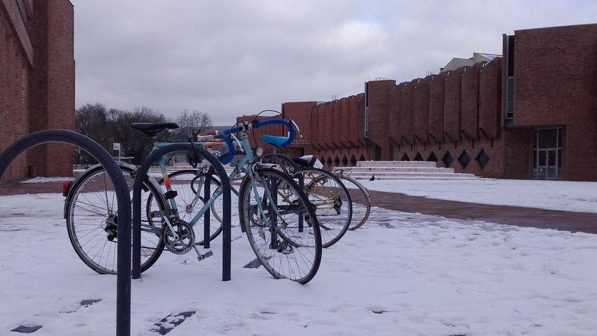 Sur le plateau de Nancy-Brabois, les vélos des étudiants sont plutôt rares en ce moment.