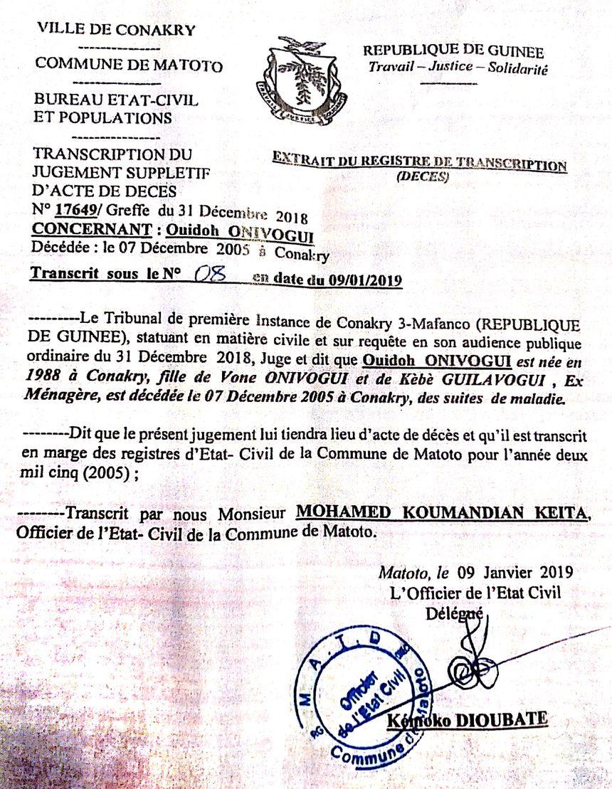 Le certificat de décès des parents de Moriba Koivogui